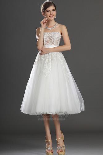 Vestido de novia Romántico tul Blanco Hinchado Abalorio Natural - Página 2