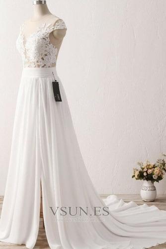 Vestido de novia Encaje Natural Manga tapada Escote con Hombros caídos - Página 5