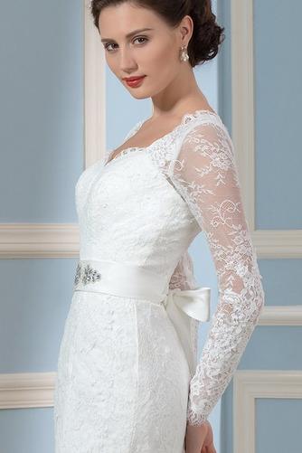 Vestido de novia Corte Recto Otoño Elegante Cordón Queen Anne Volantes Adorno - Página 4