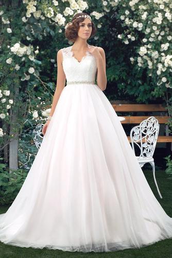 Vestido de novia Elegante Cola Capilla Pura espalda Natural Sin mangas - Página 1