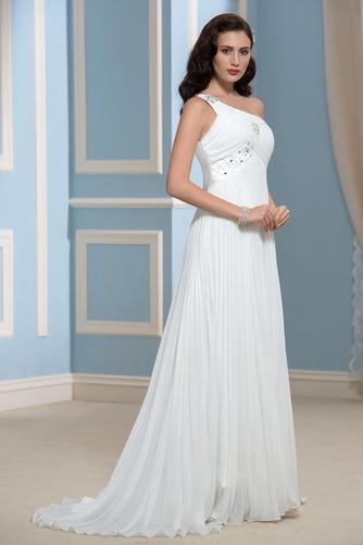 Vestido de novia Rectángulo Imperio Un sólo hombro Blusa plisada Imperio Cintura - Página 3
