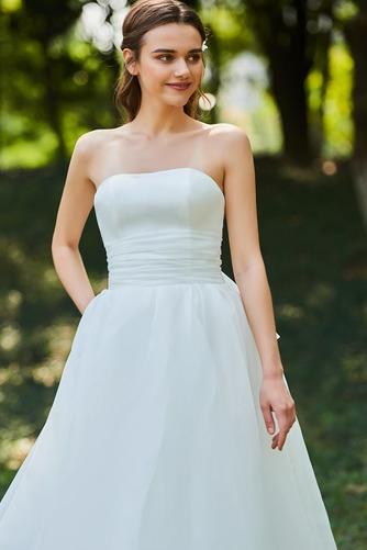 Vestido de novia Corte-A Cascada de volantes Sin mangas Reloj de Arena - Página 4