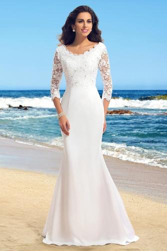 Vestido de novia Sencillo Encaje Cremallera Falta Capa de encaje Corte Recto - Página 1