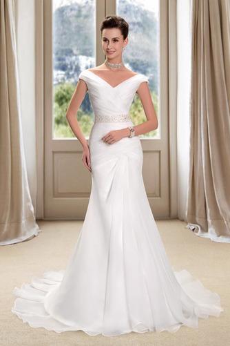 Vestido de novia Playa Cremallera Drapeado Pera Escote en V Corte Recto - Página 1