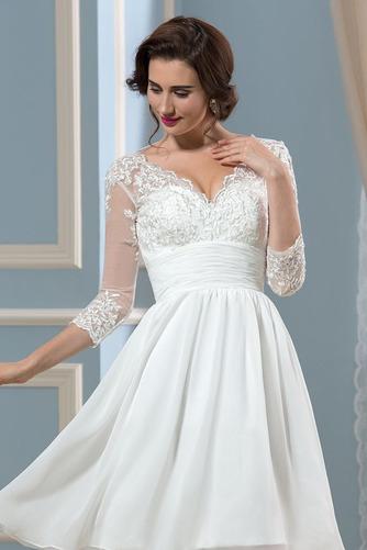 Vestido de novia Hasta la Rodilla Elegante Otoño Apliques Cremallera - Página 4