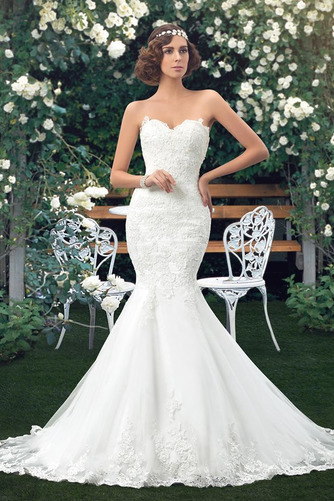 Vestido de novia Corte Sirena Drapeado Fuera de casa Falta Moderno Capa de encaje - Página 1
