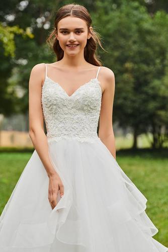 Vestido de novia Escote de Tirantes Espaguetis Natural tul Cola Capilla - Página 5