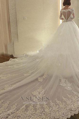 Vestido de novia Manga larga Cremallera Cola Real Bola Espectaculares - Página 4