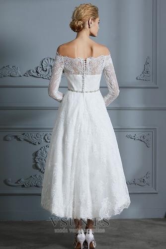 Vestido de novia Botón Moderno Pera Manga larga Asimétrico Dobladillo - Página 2