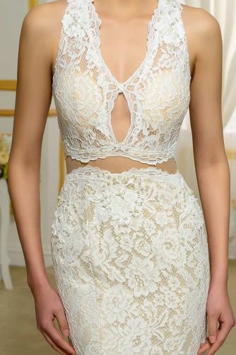 Vestido de novia Escote en V Corte Recto Espalda Descubierta Playa Hasta el suelo - Página 4