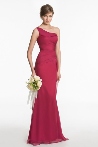 Vestido de dama de honor Un sólo hombro Elegante Plisado Corte Recto Gasa Natural - Página 3