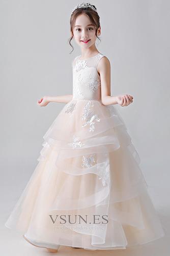 Vestido niña ceremonia Joya primavera Natural Hasta el Tobillo Cordón Falta - Página 4