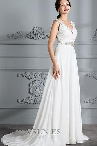 Vestido de novia Encaje Escote en V Natural Cremallera Playa Cinturón de cuentas - Página 4