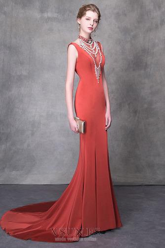 Vestido de noche Natural Elegante Otoño Escote con cuello Alto Satén - Página 3