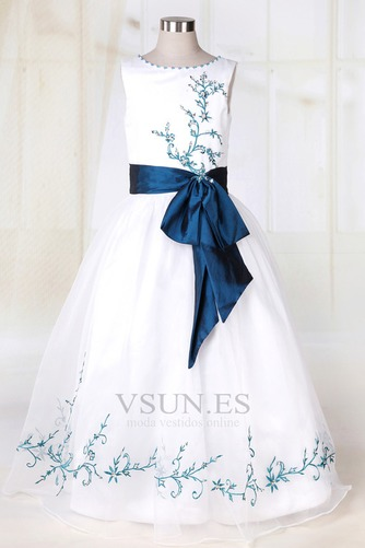 Vestido niña ceremonia Blanco Organza Romántico Corte princesa Arco Acentuado - Página 1