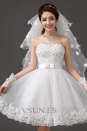 Vestido de novia Sin tirantes Falta Playa Verano Lazos Sin mangas - Página 5