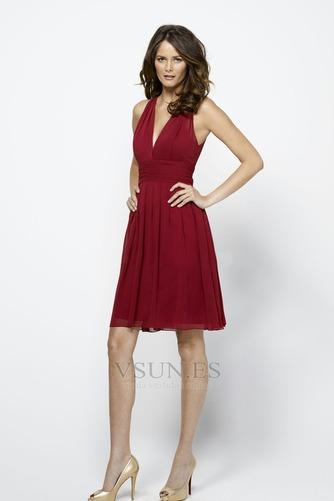 Vestido de dama de honor Natural Rojo Oscuro Hasta la Rodilla Corte Recto Glamouroso - Página 1