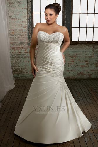 Vestido de novia Sin mangas Cordón Cola Capilla Escote Corazón Organza - Página 1