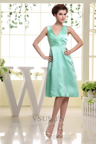 Vestido de dama de honor Corte-A Hasta la Rodilla Natural Satén Espalda medio descubierto - Página 1