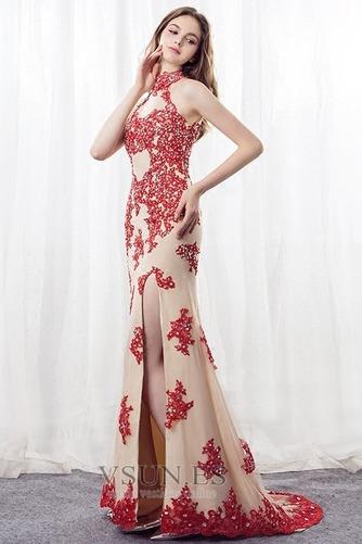 Vestido de noche Corte Sirena primavera Apliques Pera Escote con cuello Alto - Página 3