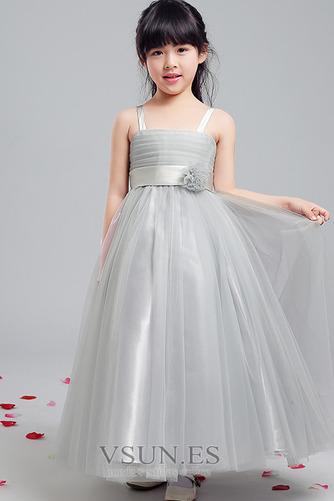Vestido niña ceremonia Sin mangas Corte-A Arco Acentuado Elegante Hasta la Tibia - Página 3