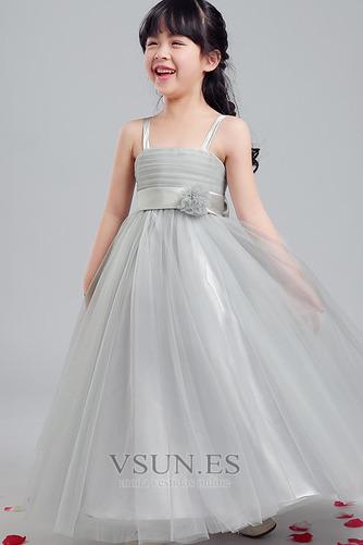 Vestido niña ceremonia Sin mangas Corte-A Arco Acentuado Elegante Hasta la Tibia - Página 4