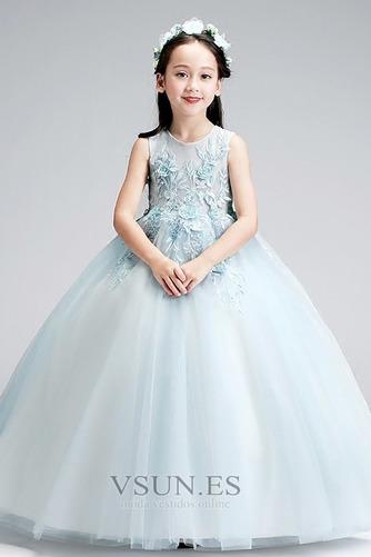 Vestido niña ceremonia Hasta el Tobillo Elegante Falta Natural Cremallera - Página 4
