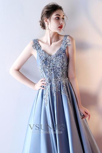 Vestido de fiesta Elegante Escote en V Abalorio Corte-A Satén Hasta el Tobillo - Página 5