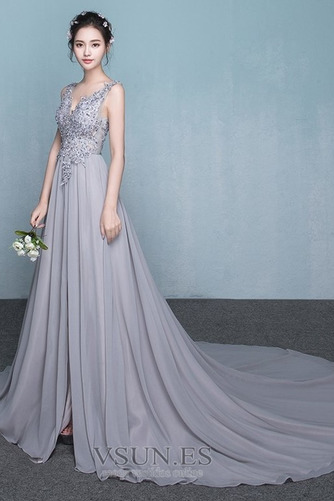 Vestido de dama de honor Encaje Natural Corte-A Falta primavera Elegante - Página 3