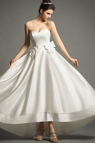 Vestido de novia Playa Cremallera Escote Corazón Lazos Natural Falta - Página 4