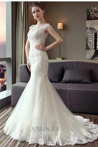 Vestido de novia Corte Sirena Capa de encaje largo Escote con Hombros caídos - Página 3