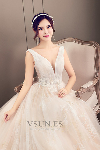 Vestido de novia Corte-A Apliques Baja escote en V Natural Fuera de casa - Página 5