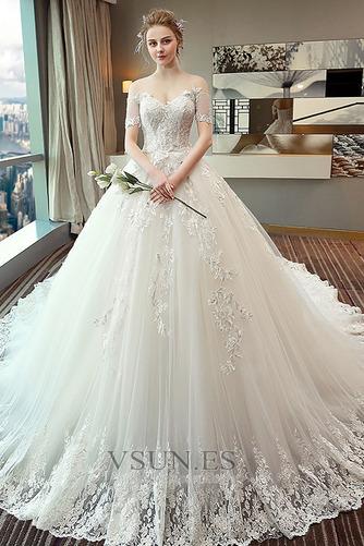 Vestido de novia Espectaculares Manga corta Corte-A Espalda Descubierta - Página 1