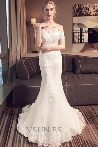 Vestido de novia Corte Sirena Encaje Iglesia Verano Escote con Hombros caídos - Página 3