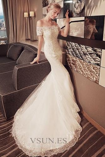 Vestido de novia Corte Sirena Encaje Iglesia Verano Escote con Hombros caídos - Página 4