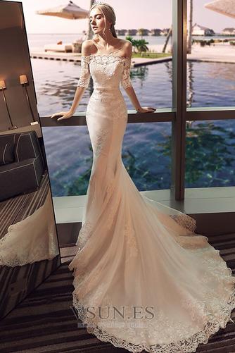 Vestido de novia Natural La mitad de manga Cordón Arco Acentuado Corte Sirena - Página 4