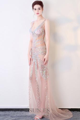 Vestido de fiesta Cremallera Transparente Escote en V Estrellado Natural - Página 3