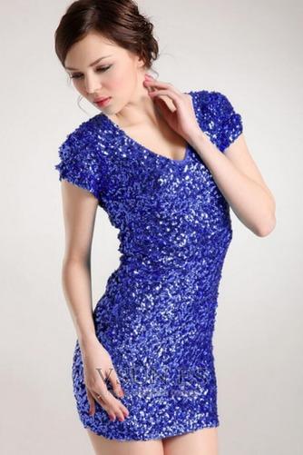Vestido de fiesta sexy Corte Recto Cremallera Estrellado Camiseta Falta - Página 6