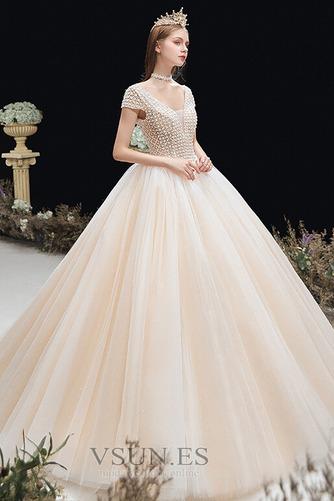 Vestido de novia Formal Cordón Corte-A Escote en V Capa Multi Cola Capilla - Página 3