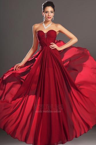 Vestido de noche Rojo Oscuro Sin tirantes Para Imperio Natural Cremallera - Página 2