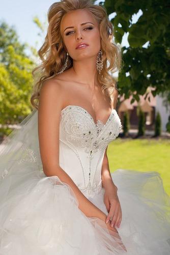 Vestido de novia Apliques Sala Con velo Escote Corazón Cintura Baja - Página 4