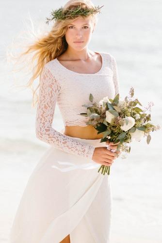 Vestido de novia Manga larga 2 piezas Verano Alto cubierto Fajas Gasa - Página 1