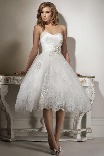 Vestido de novia Hasta la Tibia Natural Corte-A Sin mangas Apliques - Página 3