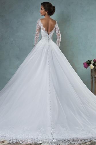 Vestido de novia Barco Cola Capilla Otoño tul Corte-A Natural - Página 2