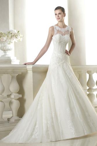 Vestido de novia Pura espalda Apliques Corte-A Encaje Cintura Baja largo - Página 1