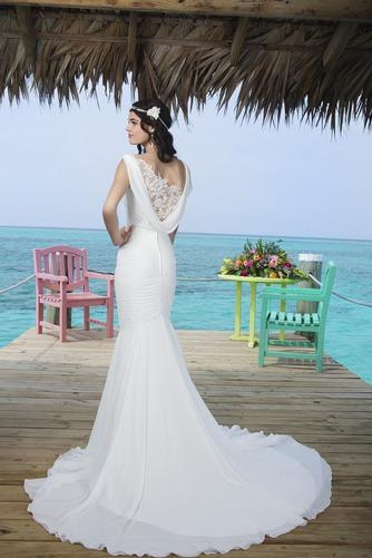 Vestido de novia Corte Sirena Volantes Adorno Gasa Sin mangas Natural - Página 2