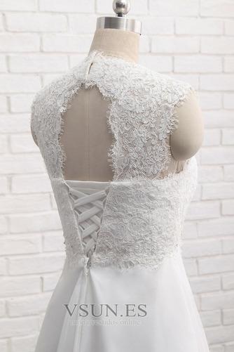 Vestido de novia Encaje Escote Cuadrado Gasa Sin mangas Imperio Natural - Página 5