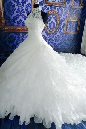 Vestido de novia Natural Corte-A Sin mangas Organza Iglesia Cremallera - Página 3