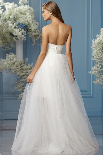 Vestido de novia tul Fajas Sin mangas Asimètrico Fuera de casa largo - Página 2