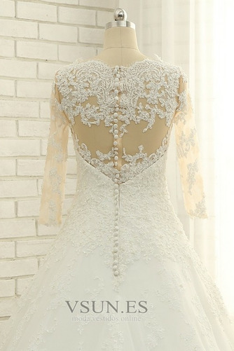 Vestido de novia Abalorio Corpiño Acentuado con Perla Pura espalda Natural - Página 6